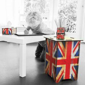 Hocker, pennenbakje en tissuehouder Britse vlag
