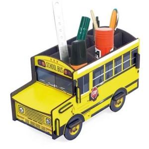 Geel pennenbakje van Werkhaus in de vorm van een Amerikaanse schoolbus