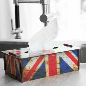 Tissuebox Britse vlag op aanrecht